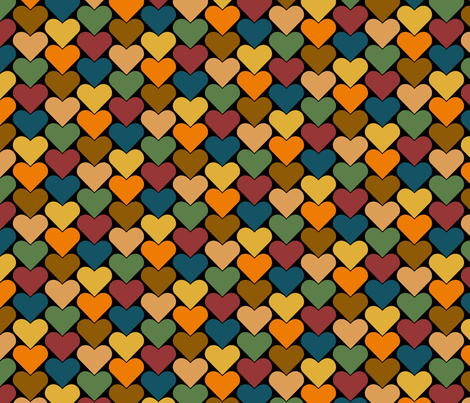Multi-Colored Hearts - Orange, Blue, Green, Yellow, Brown, Pink, Purple fabric by zephyrus_books on Spoonflower - custom fabric