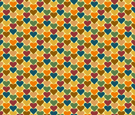 Multi-Colored Hearts - Orange, Blue, Brown, Green, Pink, Purple, Yellow fabric by zephyrus_books on Spoonflower - custom fabric