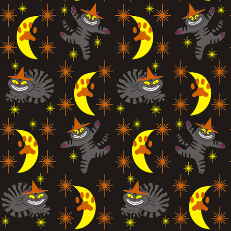 Magical Mr. Midnight in Charcoal, Orange, & Black fabric by 3catsgraphics on Spoonflower - custom fabric