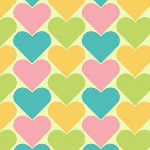 Multi-Colored Hearts - Light Pastels (Blue Pink Yellow, Green)