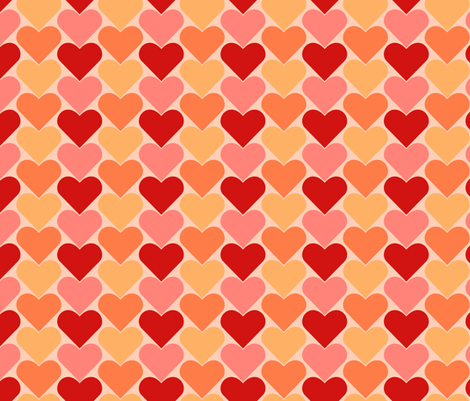 Multi-Colored Pink and Red Hearts - Pinks Pale Reds fabric by zephyrus_books on Spoonflower - custom fabric