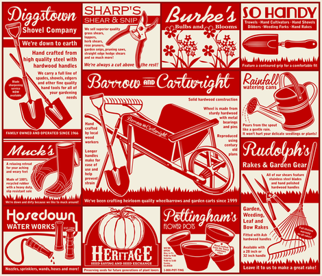 Gardening Tools Advertising ~ Red fabric by retrorudolphs on Spoonflower - custom fabric