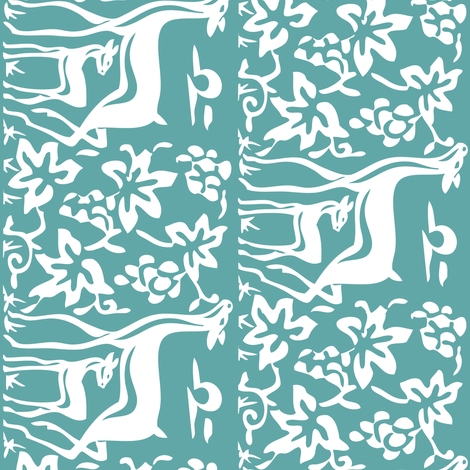 deer-grapes-close-vector-white-TURQUOISE-180 fabric by mina on Spoonflower - custom fabric