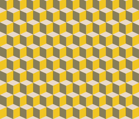 Colorful Tessellated Squares - Yellow, Gray and Beige fabric by zephyrus_books on Spoonflower - custom fabric