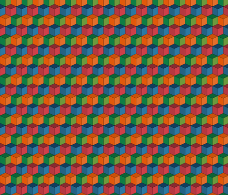 Colorful Tessellated Squares - Orange, Green Blue, Red fabric by zephyrus_books on Spoonflower - custom fabric