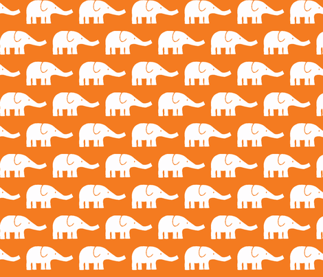 MEDIUM Elephants in orange fabric by katharinahirsch on Spoonflower - custom fabric