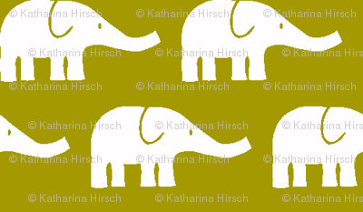 SMALL Elephants in olive green