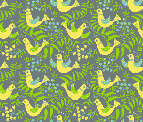 Birds, Berries and Blooms fabric by retrorudolphs on Spoonflower - custom fabric