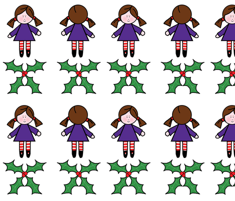 Fairy Doll with Holly Wings fabric by sharon_e_sorensen on Spoonflower - custom fabric