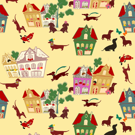 dachshund world fabric by lil_creatures on Spoonflower - custom fabric