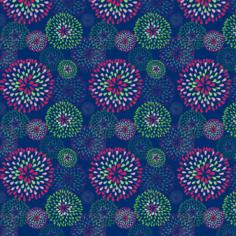 Pixie Puff  Navy fabric by kari_d on Spoonflower - custom fabric