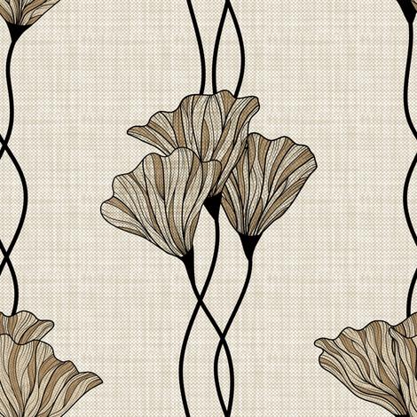 Neutral floral stripe fabric by vo_aka_virginiao on Spoonflower - custom fabric