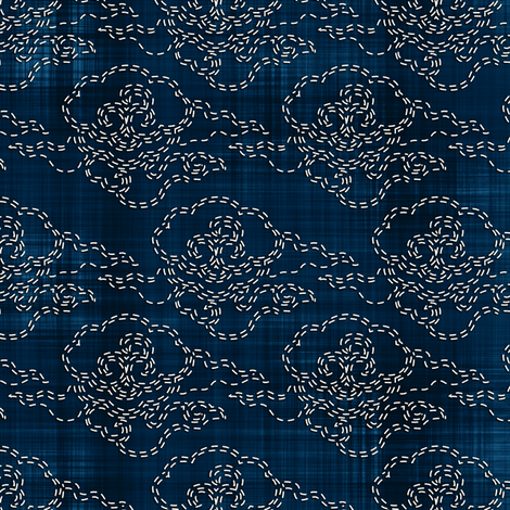 Sashiko: Kumo - Clouds fabric by bonnie_phantasm on Spoonflower - custom fabric