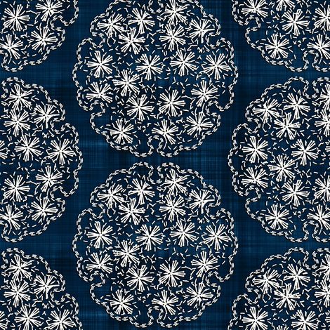 Sashiko: Yukiwa - Flower balls fabric by bonnie_phantasm on Spoonflower - custom fabric