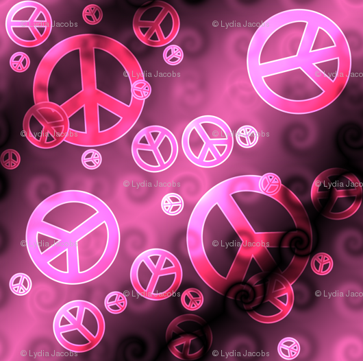 Pink And Black Peace Signs Wallpaper Lyddiedoodles Spoonflower