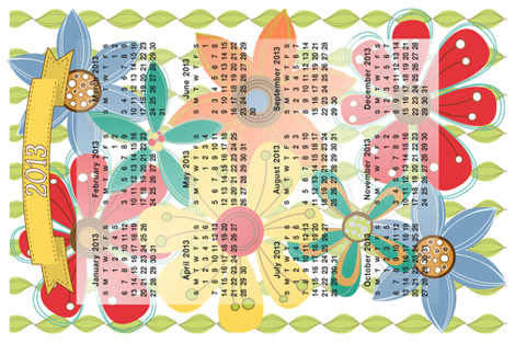 2013 Calendar Inspired Tea Towel fabric by curlywillowco on Spoonflower - custom fabric
