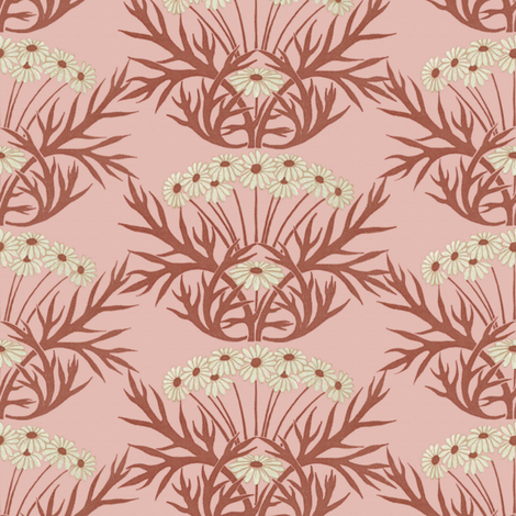 Art Nouveau Daisies ~ Pink fabric by peacoquettedesigns on Spoonflower - custom fabric