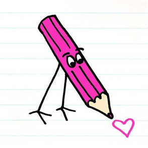 Pink Pencil drawing a heart
