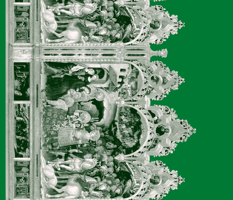 The Nativity Scene Border Print ~ Green & White fabric by peacoquettedesigns on Spoonflower - custom fabric