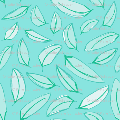 Wind Blown Leaves Teal