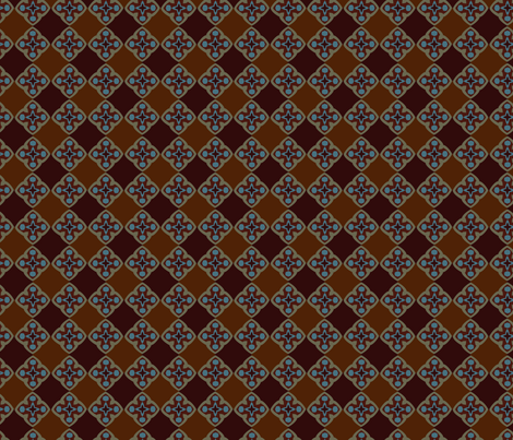 Medieval Check Brown Blue fabric by olumna on Spoonflower - custom fabric
