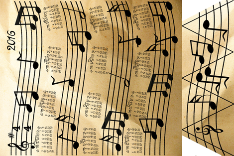 A Year Of Music Tea Towel Calendar 2016 fabric by onestitchdesigns on Spoonflower - custom fabric