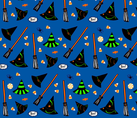 Boo! - Prussian blue fabric by painter13 on Spoonflower - custom fabric