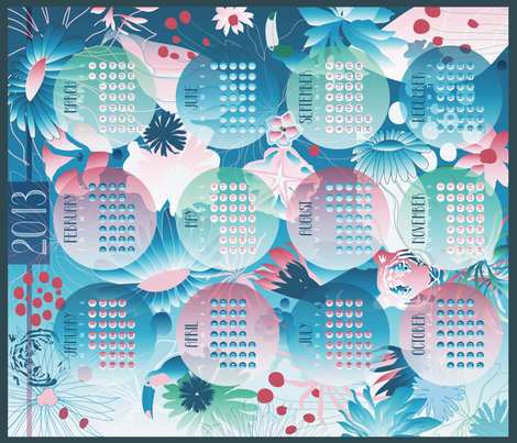 2013 will be tropical ! fabric by demigoutte on Spoonflower - custom fabric