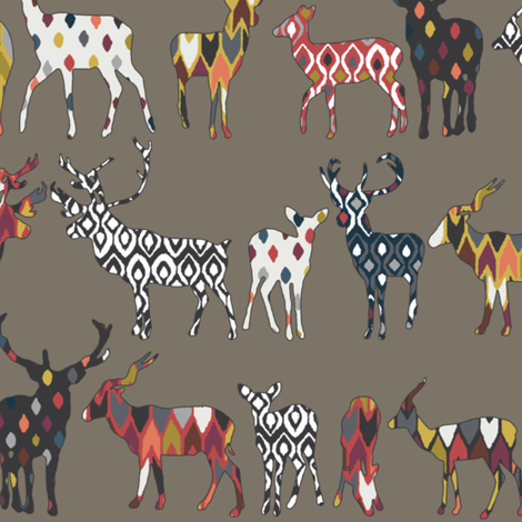 mushroom spice deer fabric by scrummy on Spoonflower - custom fabric