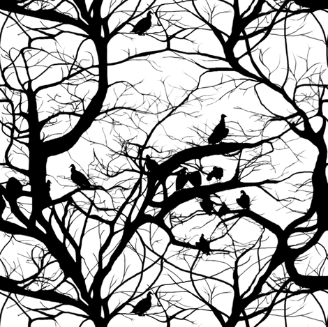 Fashion Vultures In Black & White ~ Small fabric by peacoquettedesigns on Spoonflower - custom fabric