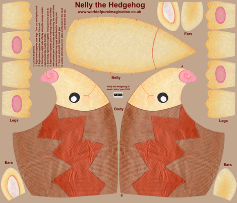 Nelly the Hedgehog Plushie fabric by shiro on Spoonflower - custom fabric