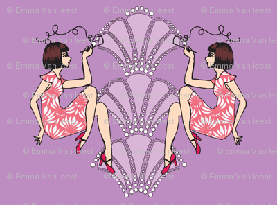 Fancy flapper girls-brunette-purple