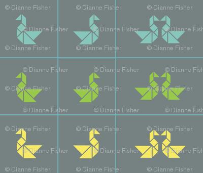 Tangram swan cushions fronts in lime, aqua and lemon