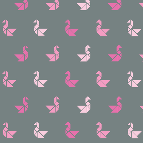 Tangram birds in pinks on charcoal fabric by little_fish on Spoonflower - custom fabric