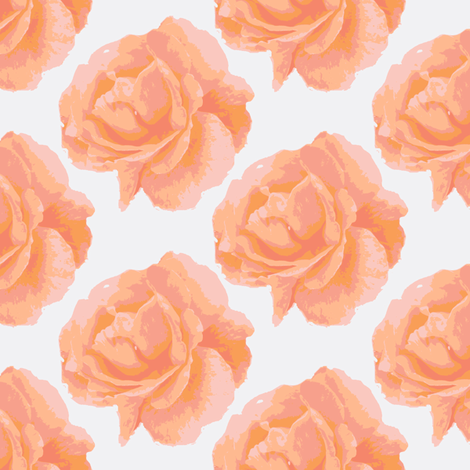 roses_for_real peach, white fabric by anino on Spoonflower - custom fabric