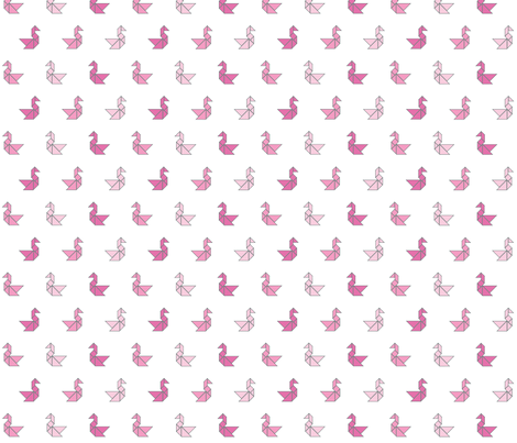 Tangram birds in pinks on white fabric by little_fish on Spoonflower - custom fabric