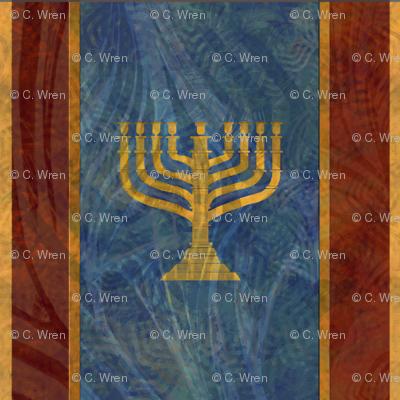 Menorah Stand Large - 9 - gold blue large