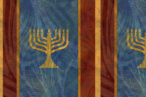 Menorah Stand Large - 9 - gold blue large fabric by wren_leyland on Spoonflower - custom fabric