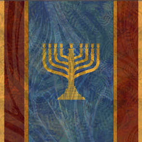 Menorah Stand Large - 9 - gold blue large