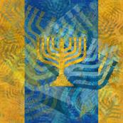 Menorah Panels- Abstract Large Blue Gold