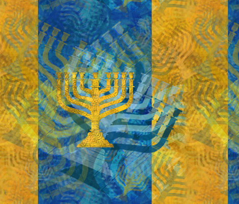 Menorah Panels- Abstract Large Blue Gold fabric by wren_leyland on Spoonflower - custom fabric