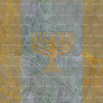 Menorah Panels- Abstract Large Blue Gold