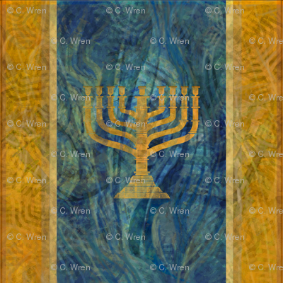 Menorah Plaid in Olive Gold and Blues -large