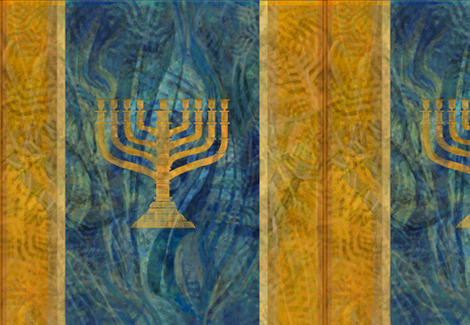Menorah Plaid in Olive Gold and Blues -large fabric by wren_leyland on Spoonflower - custom fabric