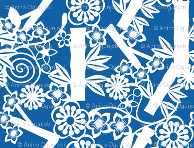 chinese floral paper cutting  blue