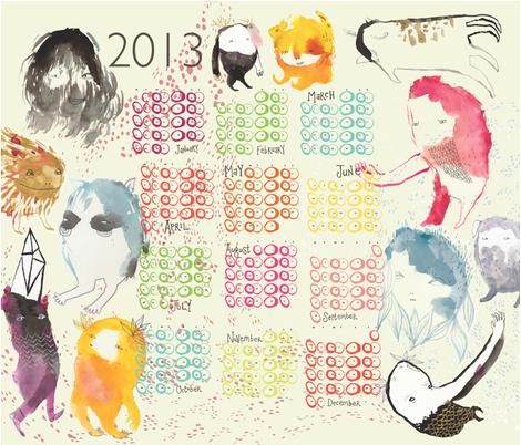 Monster 2013 Calendar fabric by benconservato on Spoonflower - custom fabric