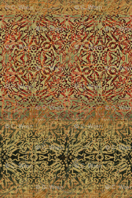 Antique Tapestry in Gold, Green and Red