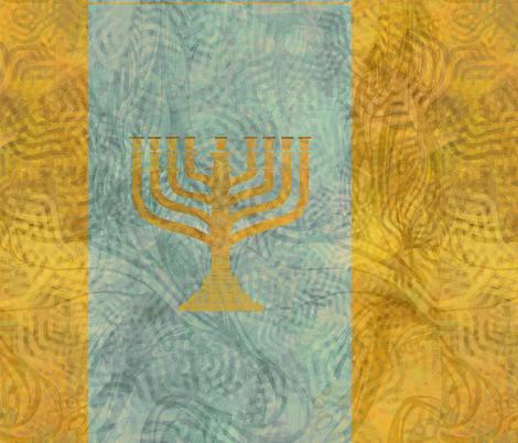 Menorah -  blue  fabric by wren_leyland on Spoonflower - custom fabric