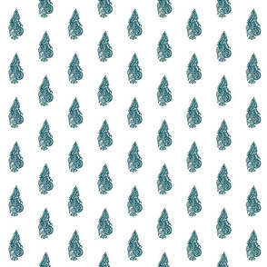 Curled Fern Dark Teal - half drop
