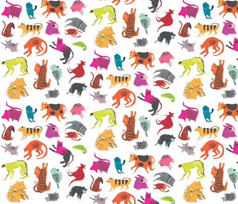Strange Beasts Multi-colour fabric by benconservato on Spoonflower - custom fabric